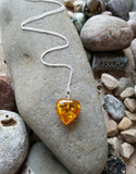 Amber Heart Necklace-Honey colour Amber Heart Pendant on a long Sterling Silver Chain