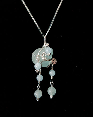 Aquamarine Beach Glass Dance Pendant