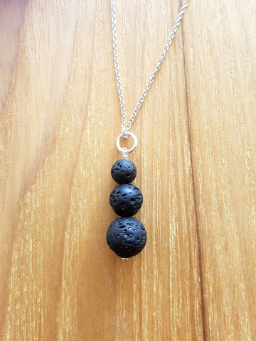 Trinity Essential Oil Diffuser Pendant Necklace, Aromatherapy Jewelry, Lava Stone Pendant on Chain