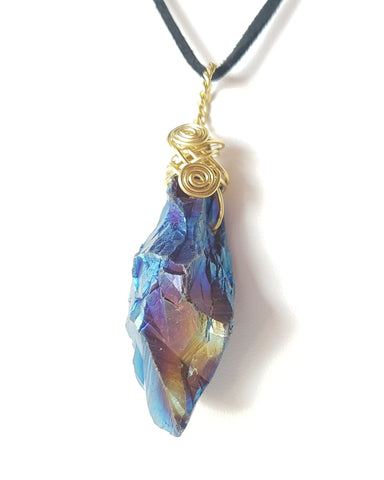 Electric Quartz Pendant-OOAK-Electroplated Quartz Crystal-Handmade-Brass Wire Wrapped Pendant on Vegan Leather Cord