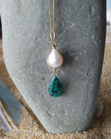 Golden Baroque Pearl Turquoise Pendant