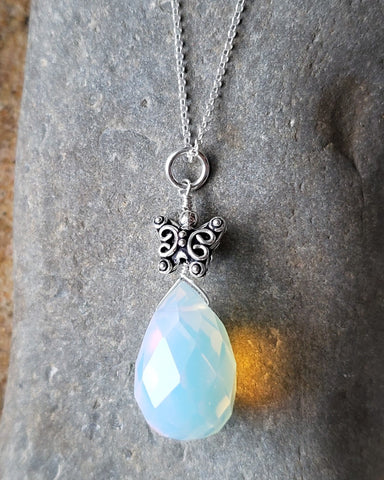 Butterfly Opal Dreams Pendant, Sterling Silver, Synthetic Opal, Large faceted Stone, Detailed three dimensional Butterfly on Rollo Chain