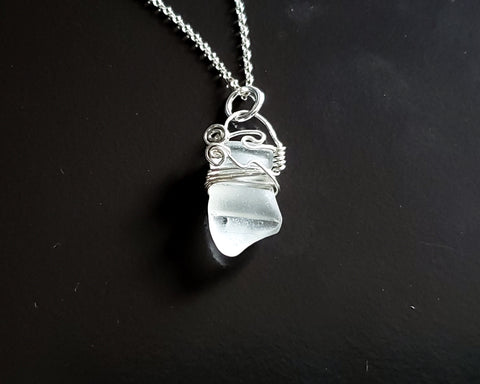 Clarity Beach Glass Pendant, Sterling Silver, Naturally Surf tumbled Sea Glass