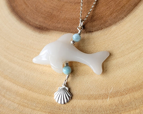 Dominican Dolphin Larimar Shell Pendant, Sterling Silver, Larimar, Carved White Quartz Dolphin, Shell