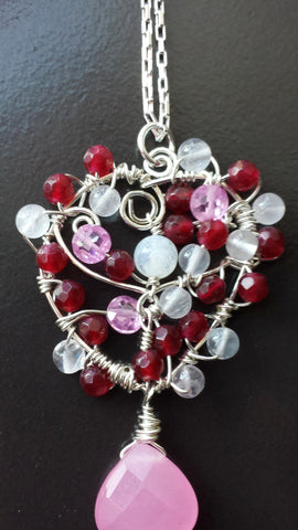 Heart of Gems Pendant Necklace, One of a Kind, Sterling Silver Mulit Gemstone Wire Work Pendant, Reds & Pinks, Moonstone, Jade