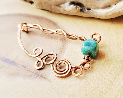 Celtic Vintage Green Agate and Upcycled / Repurposed Copper Kit Pin/ Brooch