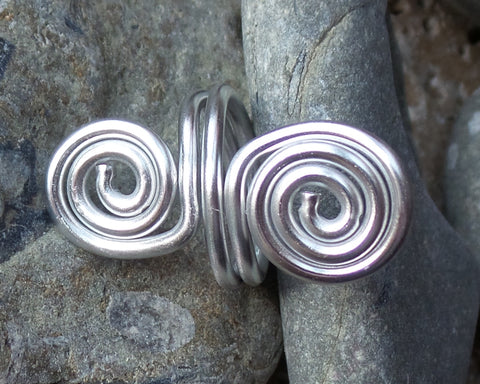 Celtic Eternity Coils Ring, Double Coils, Aluminum