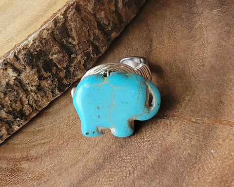 Turquoise Elephant Adjustable Wire Wrapped Ring