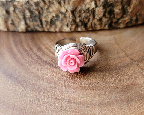 Pink Rose Wire Wrapped Ring-Adjustable
