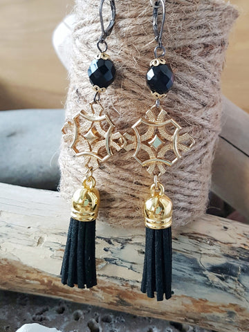 Long Golden Black Tassel Bohemian Earrings, Vintage Gold, Black Vegan Leather Tassels