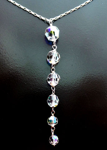 Crystal Icicle Necklace-Sterling Silver-Vintage Crystal