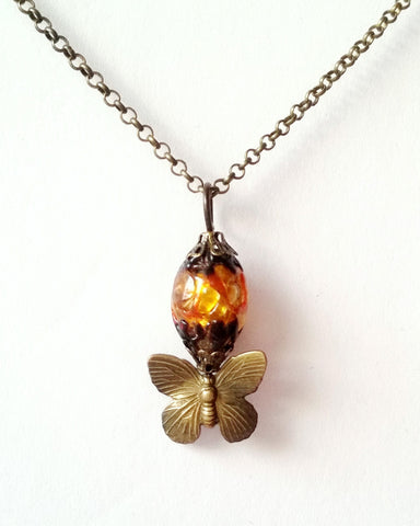 Vintage Monarch Butterfly Fire Necklace-Handcrafted Fair Trade Butterfly Pendant Necklace-Vintage Foil Glass-Antiqued Brass