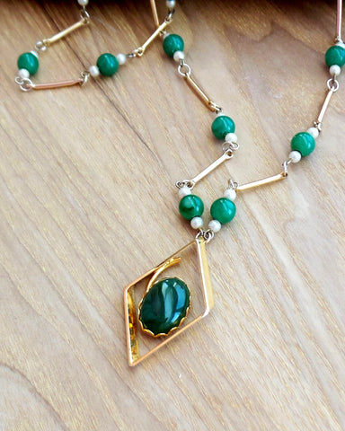 Long Vintage Canadian Jade Joy Necklace, a Vintage Inspired One of a Kind (OOAK) Necklace.  Upcycled Genuine Canadian Green Jade and Vintage beads, pearls and Gold tone metal.
