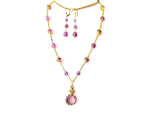 Long Gold Vintage Mauve Glass Cameo Necklace and Earring Set