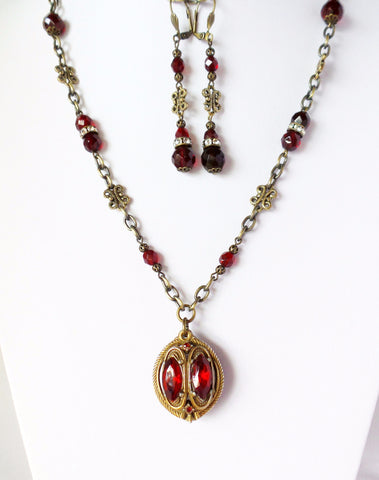 Long Victorian Cranberry Fire Necklace & Earring Set, Long Red Crystal-Antique Brass, Vintage Pendant Necklace & Dangle Earrings