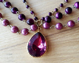 Burgundy Vintage Inspired Statement Necklace Earring Set-Pendant