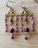 Burgundy Vintage Inspired Statement Necklace Earring Set-Chandelier Earrings