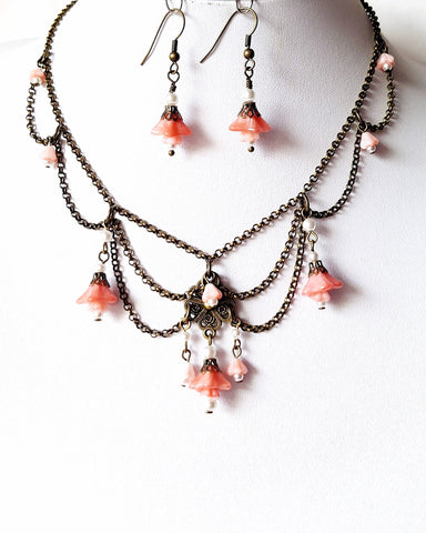 Vintage Romance Pink Flower Festoon Necklace and Earring Set