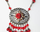 Vintage Bohemian Red Rose Garden Necklace & Earring Set