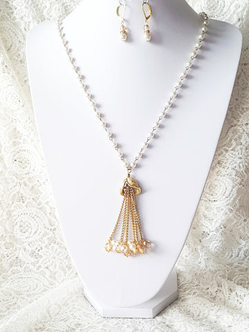 Long Golden Pearl Tassel Necklace and Earring Set