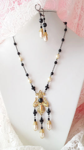 French Romance Necklace & Earrings Set-Vintage Bohemian Inspired Gold Fleur De Lys Black Crystal & Pearl Necklace Earrings