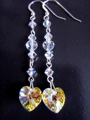 Long Crystal Heart Statement Earrings, Art Deco Inspired Swarovski Crystal Earrings