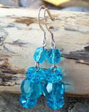 Brilliant Blue Crystal Dangles, Long Sterling Silver, Turquoise, Aqua Blue Lead free Crystal, Czech Fire Polished Glass