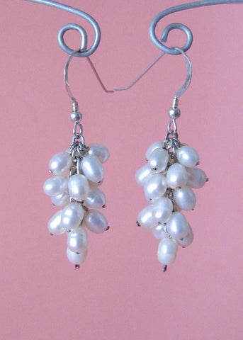 Forever White Pearl Cluster Earrings