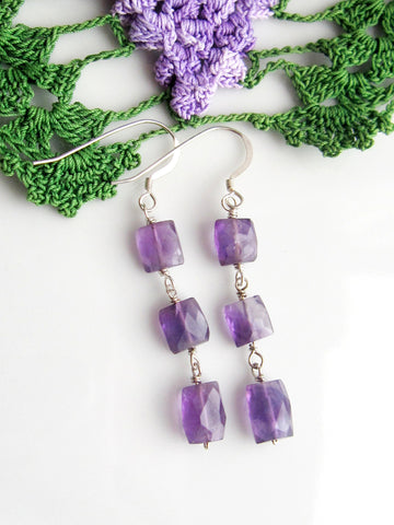 Amethyst Elegance Earrings-Long Three Stone Faceted Amethyst Sterling Silver Earrings