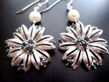 Vintage Silver & Sapphire Flower Earrings-Sterling Silver, Freshwater Cultured Pearls-Vintage Crystal