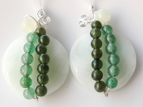 Green Gems Sculpture Earrings