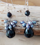 Handcrafted Black Onyx-Tahitian Grey Freshwater Cultured Pearl-Sterling Silver-Cluster Dangle Earrings