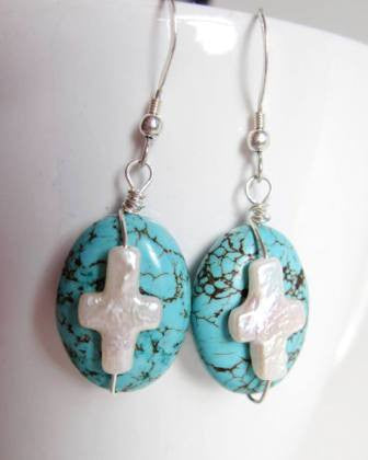 Resurrection Turquoise Earrings, Sterling Sivler, Oval Turquoise Stones with White Freshwater Cultured Pearl Cross