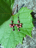Vintage Bohemian Burgundy Pearl Oxidized Sterling Silver Cluster Earrings