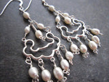 Long Pearl Chandelier Earrings, Sterling Silver, Celtic Inspired, Freshwater Cultured Pearls, Statement Earrings, Handmade, Fair Trade