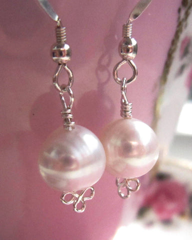 Silver Trinity Snow Pearl Earrings, Sterling Silver, Freshwater Cultured Pearls