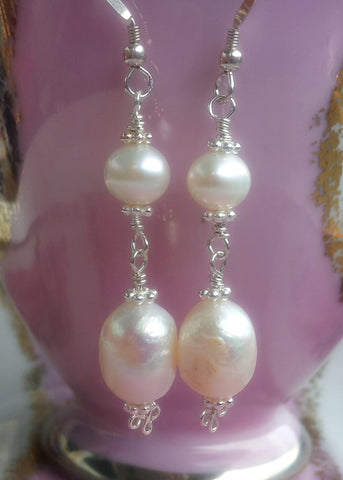 Long White Pearl Earring-Sterling Silver-Large Baroque Freshwater Cultured Pearls