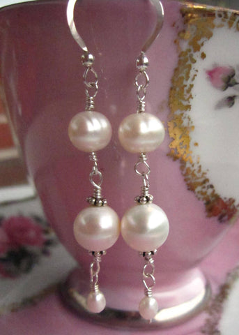 Long Elegant Pearl Earrings, Sterling Silver, White Freshwater Cultured Pearls