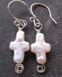 Celtic Inspired, White Pearl Cross Earrings with Eternity Coils, Freshwater Cultured Pearls and Sterling Silver.