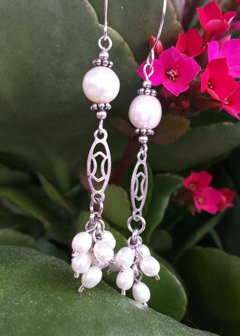 Long Pearl Art Deco Inspired Earrings Vintage Inspired, OOAK, Sterling Silver, Freshwater Cultured Pearls, Upcycled, Ethical