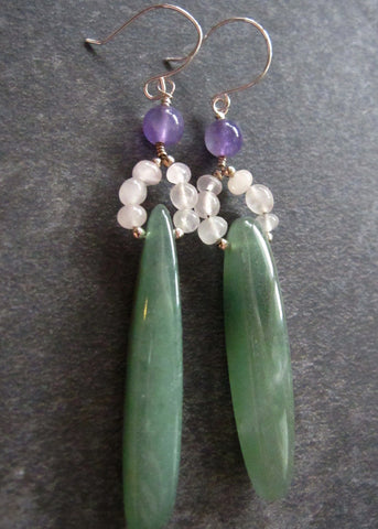 Peace Gem Earrings, Long Sterling Silver Green Agate, Rose Quartz and Amethyst Earrings, Upcycled Vintage Ethical Gemstones