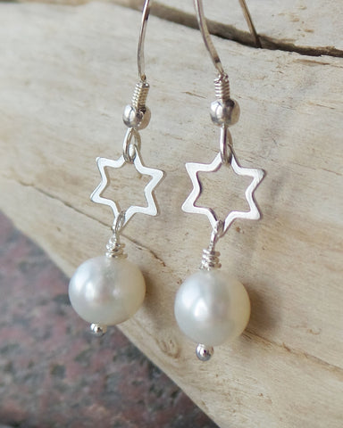 Reach for the Stars Pearl Earrings-Sterling Silver Stars & White Freshwater Cultured Pearls-6 Point Open Design Stars-Star of David