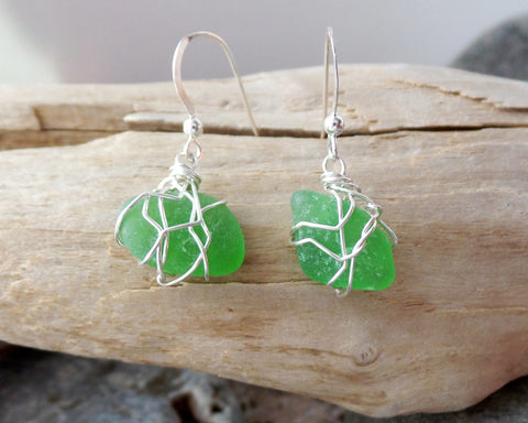 Emerald Beach Glass Earrings
