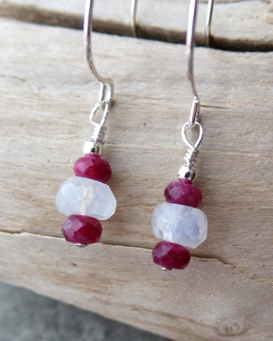 Canadian Ruby Moonstone Earrings-Handcrafted-Sterling Silver-Ruby & Rainbow Moonstone-Red & White Dangle Earrings-Minimalist-Fair Trade