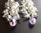 Fabulous Long Cluster Crystal Earrings-925 Sterling Silver- Clear Aurora Borealis Crystal-Long Statement Earrings