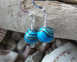 Blue Jasper Dangle Eternity Earrings, Sterling Silver, Jasper Stone