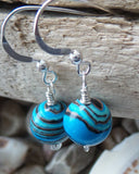 Blue Jasper Dangle Eternity Earrings, Sterling Silver