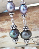 Long Elegant Silver Grey Pearl Earrings-Handcrafted-One of a Kind-Sterling Silver Tahitian Grey Freshwater Cultured Pearl Earrings-Long Dangles