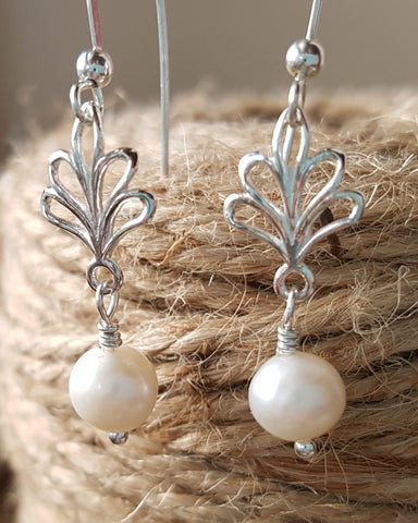 Edwardian Freshwater Cultured Pearl Earrings, Sterling Silver Genuine Freshwater Cultured Pearls, Vintage Inspired Bridal Dangle Earrings