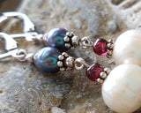 Fabulous Long Pearl Garnet Earrings